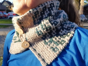 Smiling woman in blue shirt wearing a handknit cowl in cream and blue/green yarn in a garter mosaic structure with two wood buttons.